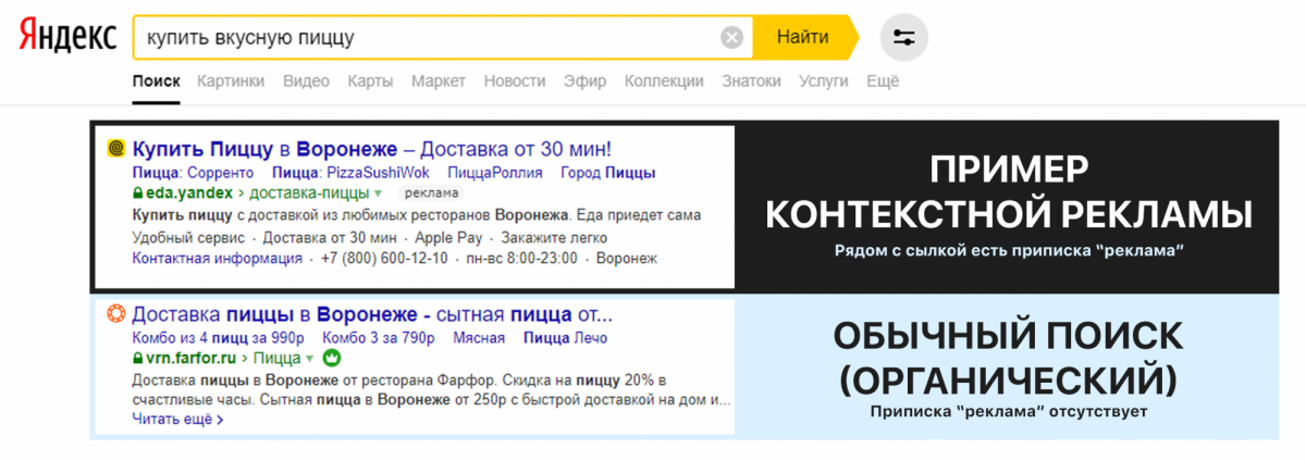 Пример рекламного объявления